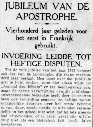 Artikel over de 'apostrophe' in de Telegraaf, december 1933.